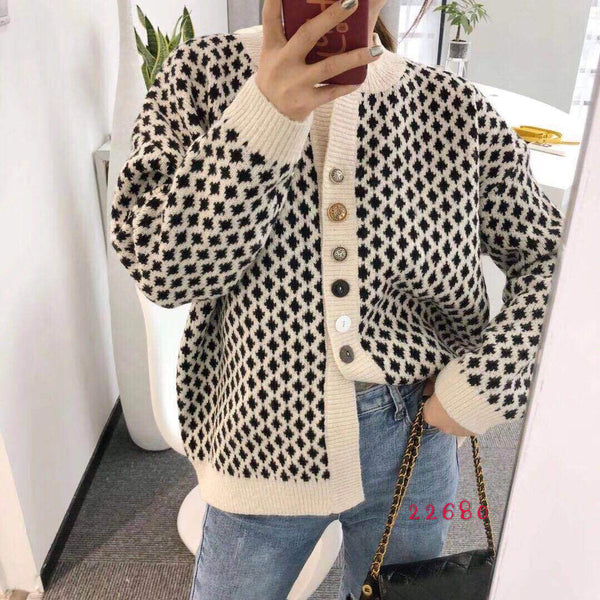 Women Lattice Knitted Casual Cardigan Sweater