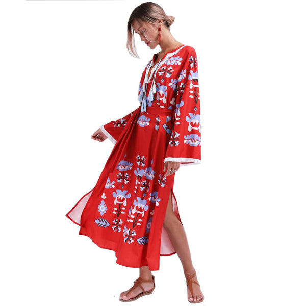 Women Summer Long Sleeve V-neck Loose Printed Tassel Bohemia Dresses