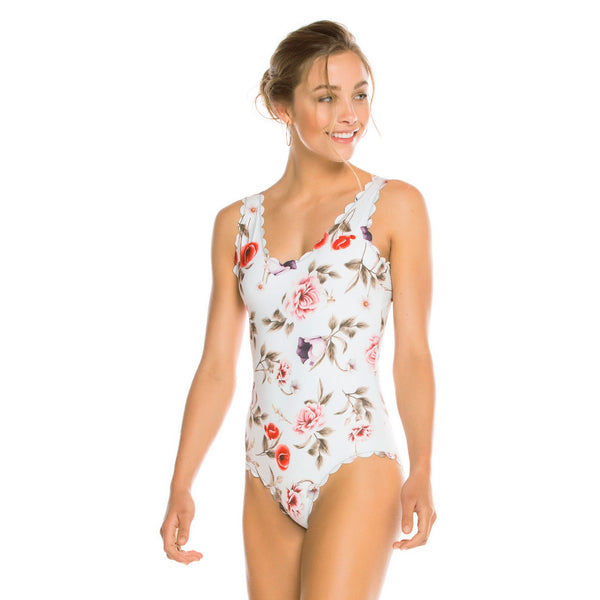 Women's new small fresh printed one-piece swimsuit