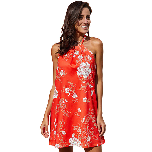 Printed round neck off-the-shoulder Mini dress