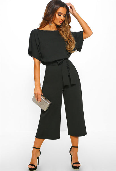 Women Solid Color Short Sleeves Sexy Casual Jumpsuits