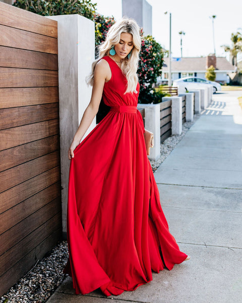Women Sexy Boho Solid Chiffon V-neck Maxi Dress