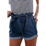 High waist curling new summer Europe and America loose slim denim shorts