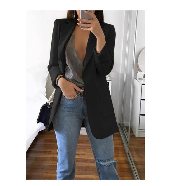 Women Autumn Long Sleeve black Casual Slim Coat