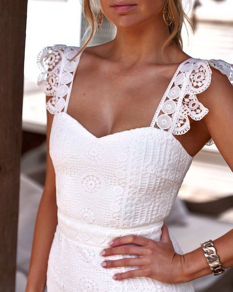 White Lace Spaghetti Strap Elegant Sleeveless Sexy Bodycon Dress