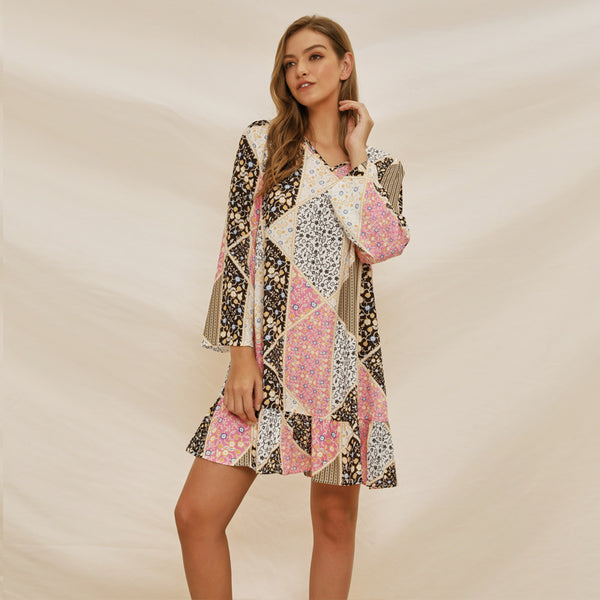 Long sleeve loose casual minimalist print MIni dress