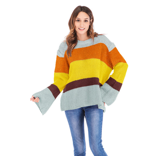 Women's three-color stitching long-sleeved loose pullover sweater