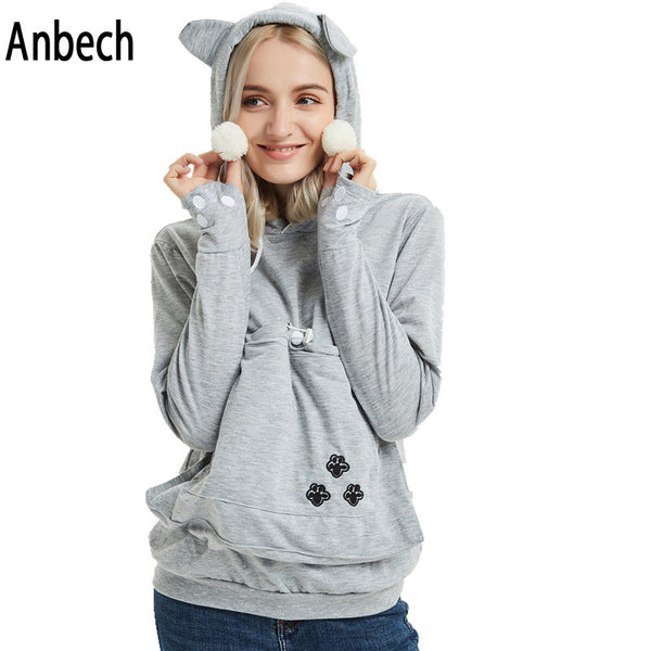 Women Cat Dog Pet Casual Hoodies Sweatshirt