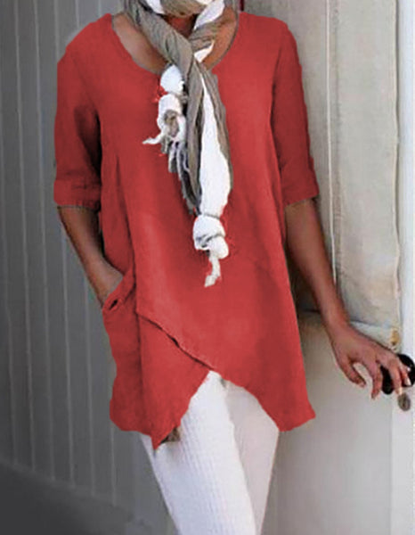 Women Cotton Linen Solid O-neck Simple Blouse Tops