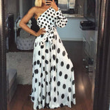 Women Casual Polka Dot Printed Sexy One Shoulder Maxi Dress