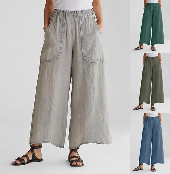 Women Summer New Fashion Linen Casual Pants