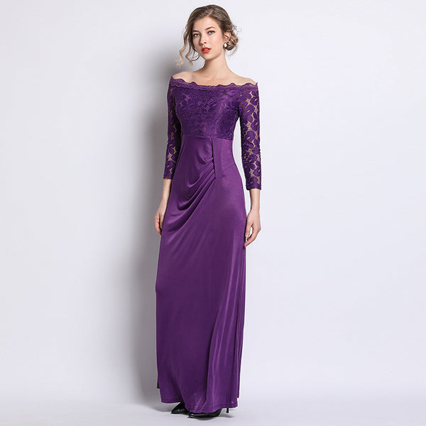 Women New Stylish Off Shoulder Long Sleeve Maxi Dress