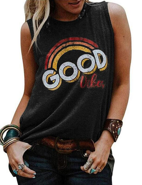 Women Fashion Casual O-neck Sleeveless Letter T-shirt