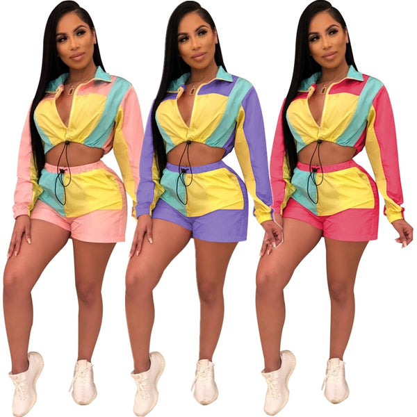 Women Summer 2 Piece Set Sexy Long Sleeve Tops