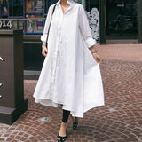 Women Long-sleeved Cotton Fashion Solid Long Shirt