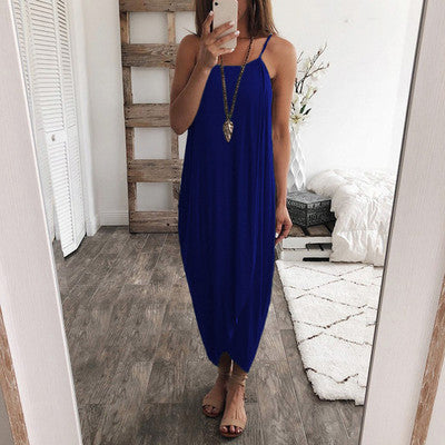 Women Fashion Solid Color Knitting Sleeveless Sexy Casual Dresses