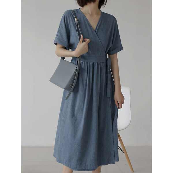 Women Vintage Cotton Linen High Waist V-neck Elegant Casual Dress