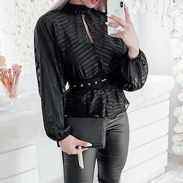 Sexy See-through Chiffon Striped Blouse