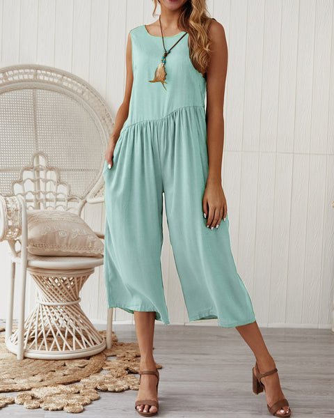 Women Summer New Style Solid Sleeveless Jumpsuit