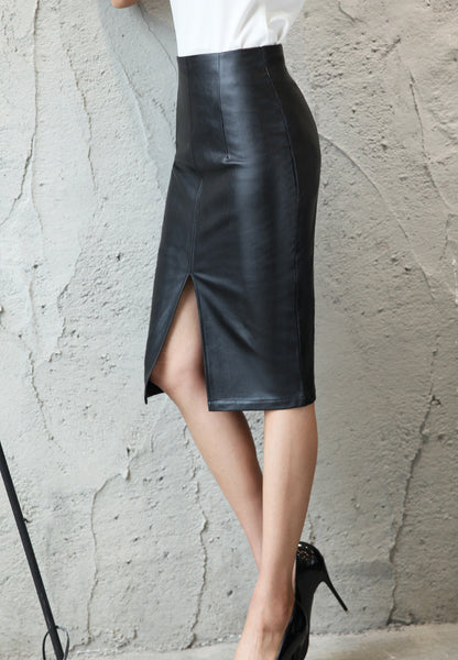 Women Black PU Leather Midi Skirt