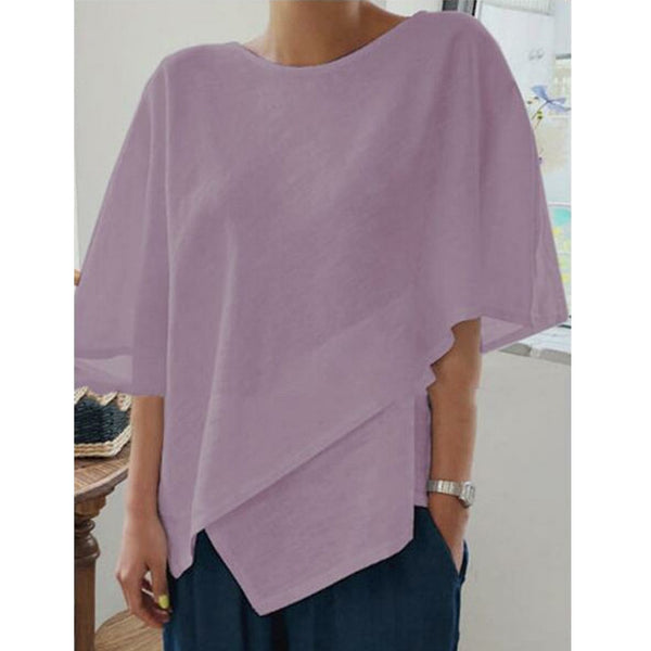 Women Fashion Irregular Cotton Linen Solid  Blouse