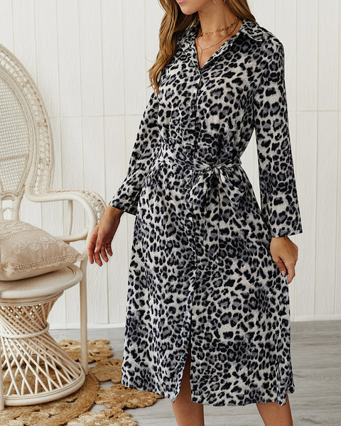 Leopard Print Long Sleeve Printed Casual Dress