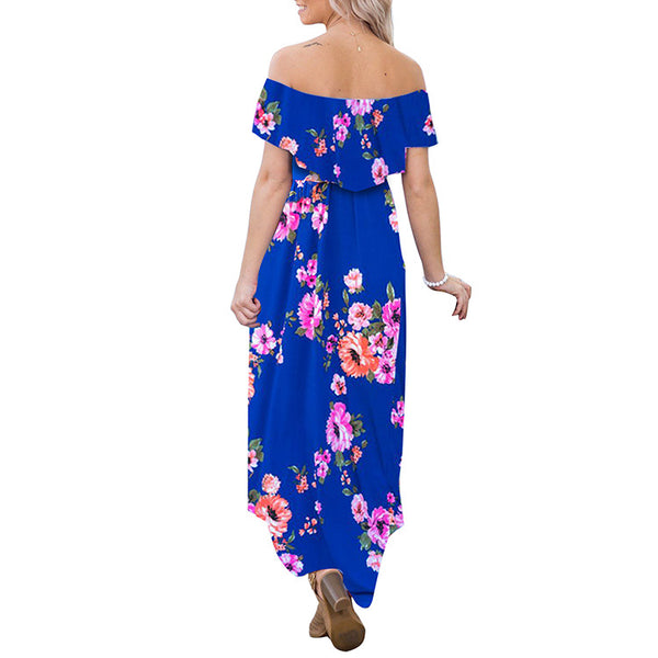 Floral Print Off Shoulder Boho Irregular Maxi Dress