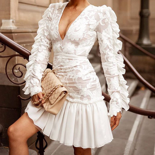 Sexy High Waist Chiffon Ruffle Long Sleeve Mini Dress