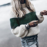 Women Round Neck Long Sleeves Striped Knitted Sweaters