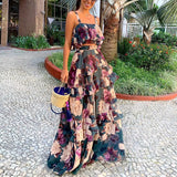 Women Fashion 2 Sets Chiffon Elegant Maxi Dress
