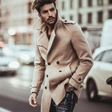 New Fashion Turn Down Collar Business Slim Long Sleeve Men Coats