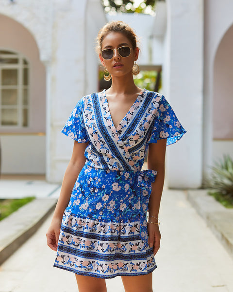 Women Summer V neck Sexy Print Bohemia Dress