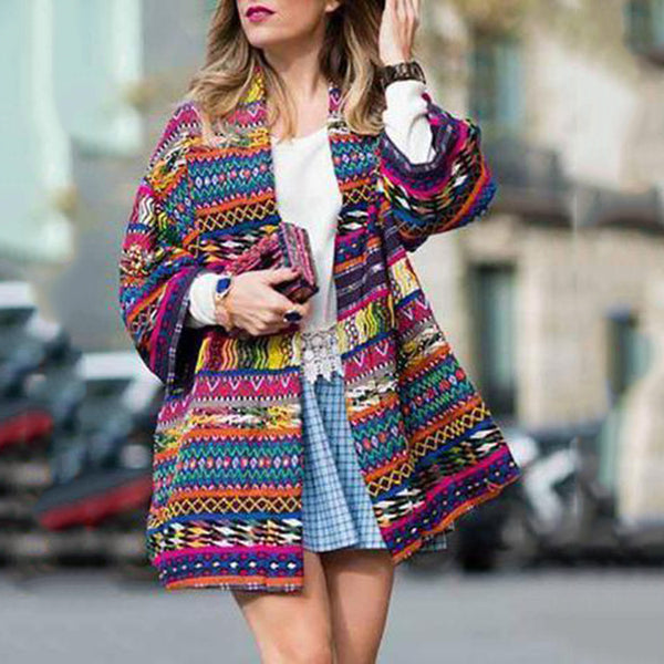 Women New Fashion Printed Long Sleeves Coats