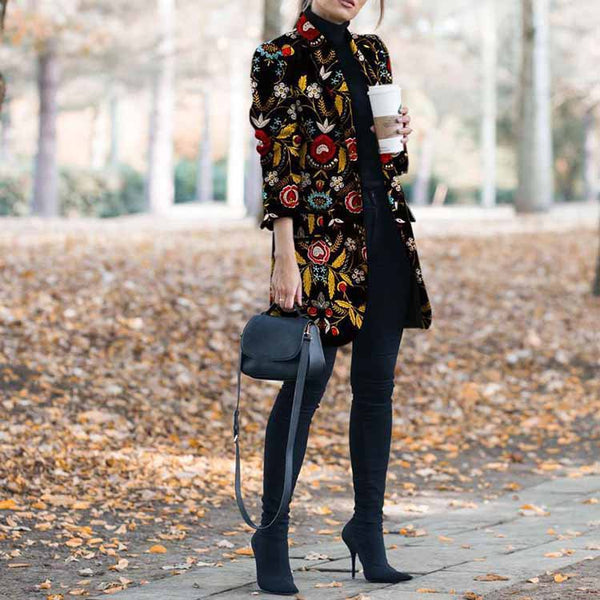 Women Latest Fashion Printed Long Sleeves Chic Coats