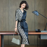Women Elegant V-neck Irregular Half Sleeve Contrast Color Maxi Dress