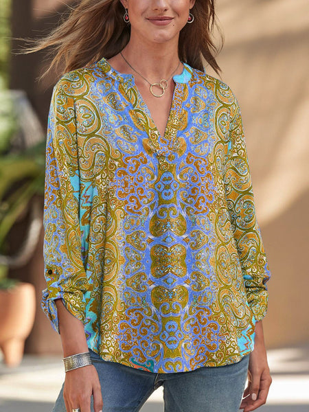 Women Chic Bohemia Printed V-neck Long Sleeves Blouse