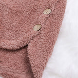 Women Casual Button Long Sleeve Solid Fluffy Hooded Coats