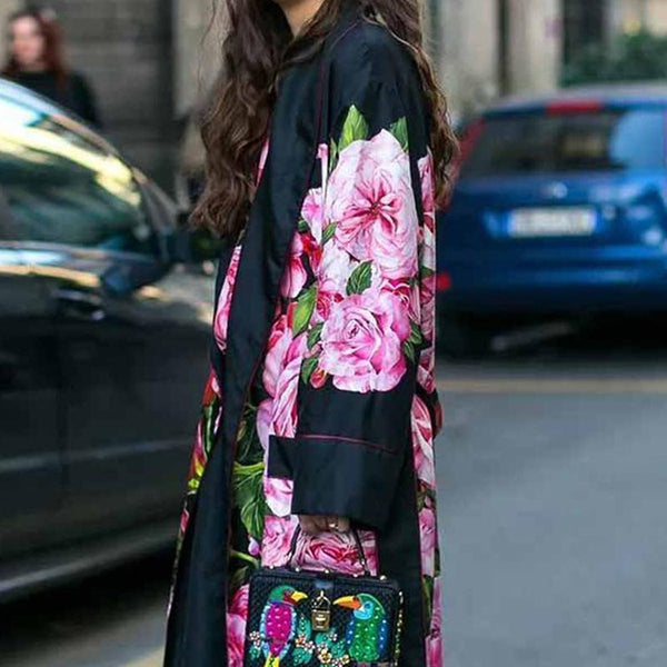 Women Fashion New Stylish Elegant Printed Long Sleeves Coats