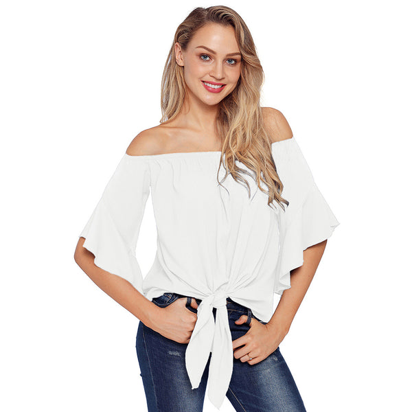 Autumn women's tube top word collar speaker seven-point sleeve shirt