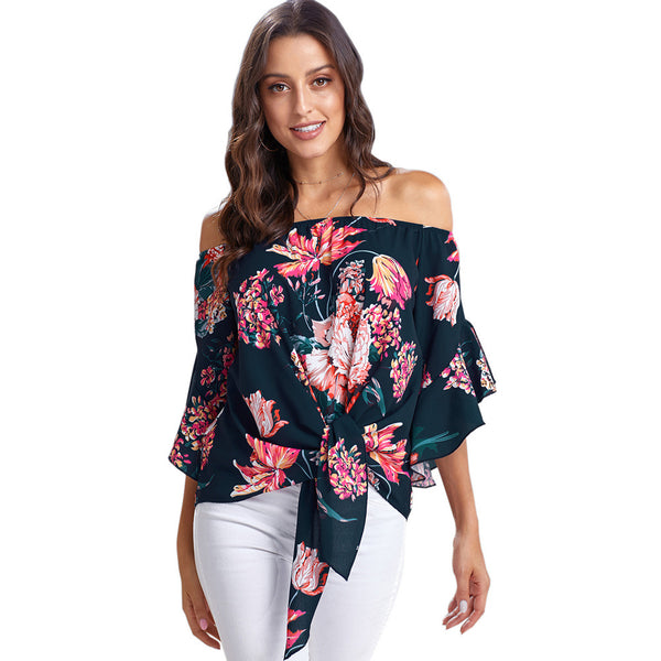 Women Off Shoulder Floral Tie Front Chiffon 3/4 Sleeve Blouse