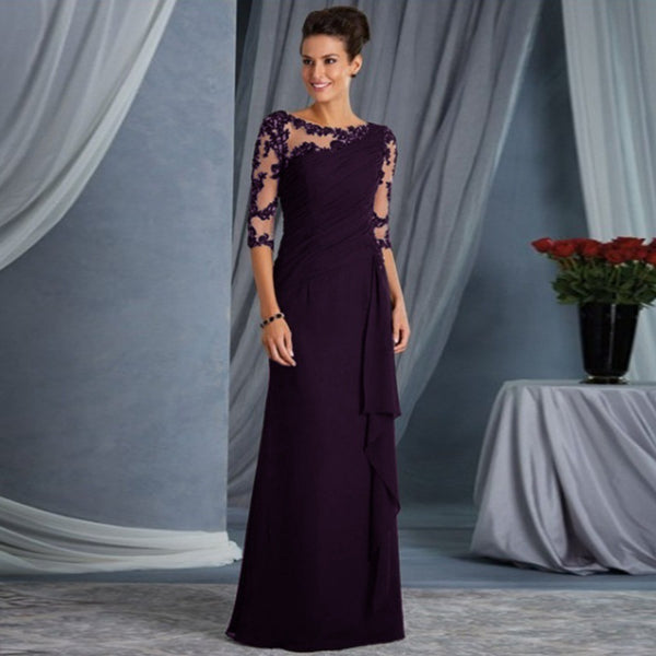 Women Lace Half Sleeve See-through Party Evening Dress