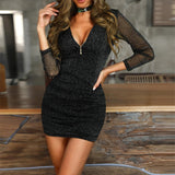 Women V-neck Sexy Mesh Zipper Long Sleeve High Waist Slim Mini Dress
