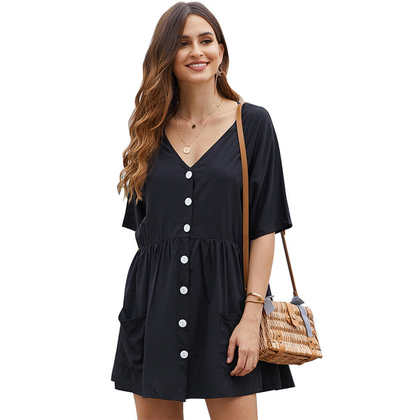 Solid color short sleeve V-neck wide dress