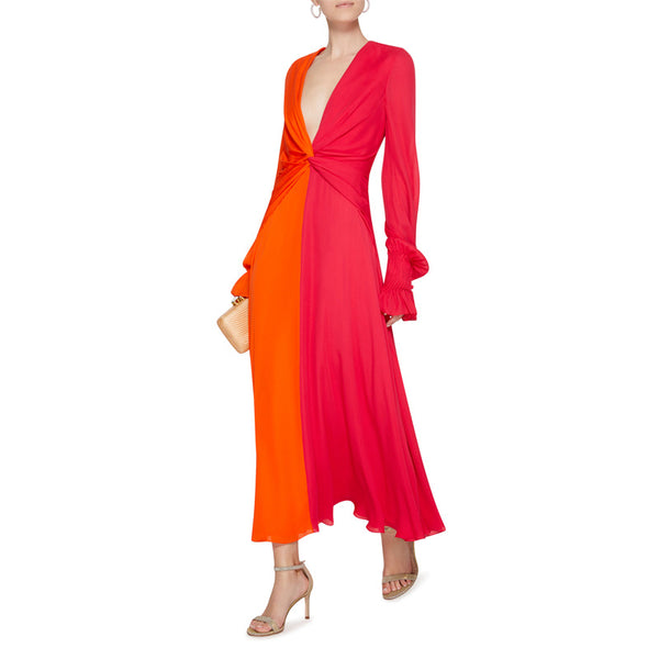 Women Deep V Hit Color Elegant Lantern Sleeve High Waist Maxi Dress