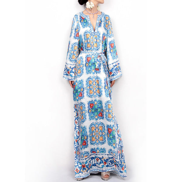 Women Long Sleeve V-neck Loose  Print Floral Bohemia Dresses