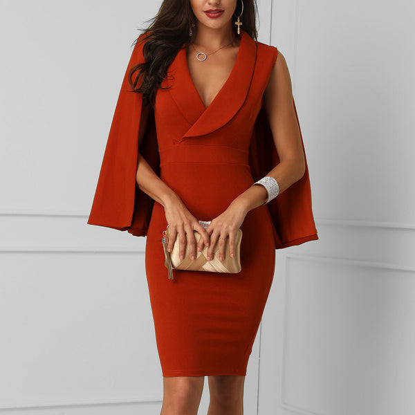 Women Sexy Elegant Turn Down Collar Cloak Bodycon Dress