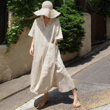 New Fashion Cotton Linen Short Sleeve Casual Dress