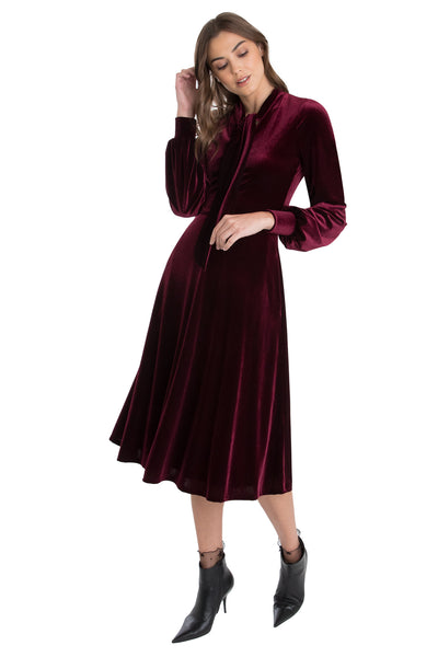 Women Velvet  Chic Collar Elegant Long Sleeve Mini Dress