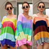 Rainbow Patchwork Knitted Pullover Loose Sweater