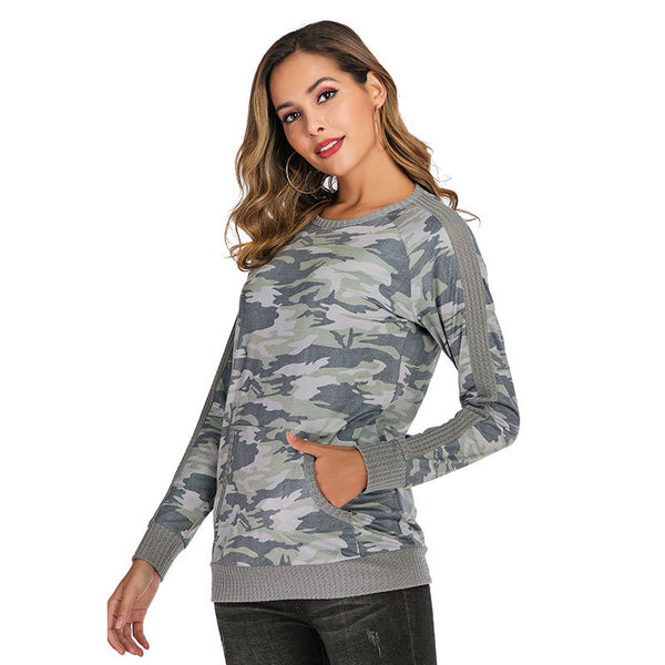 Women Casual Long Sleeve Printed O-neck T-shirt